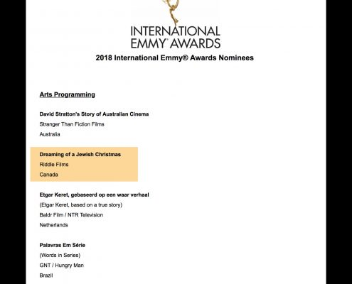Riddle at the International Emmy's